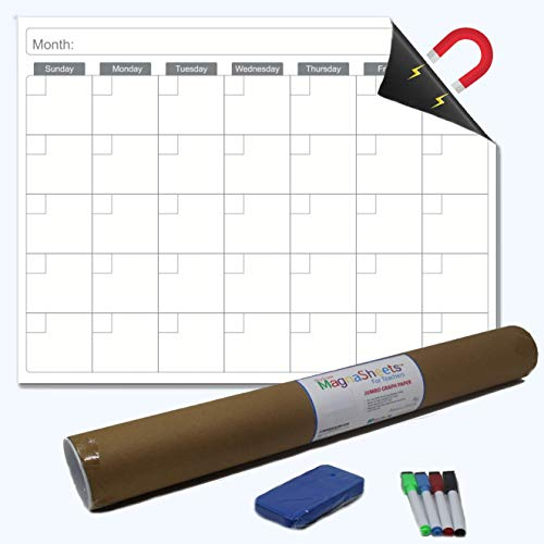 """Large Magnetic Dry Erase Monthly Classroom Calendar for Whiteboard (28""""W x 22""""H) by Abaco Office 