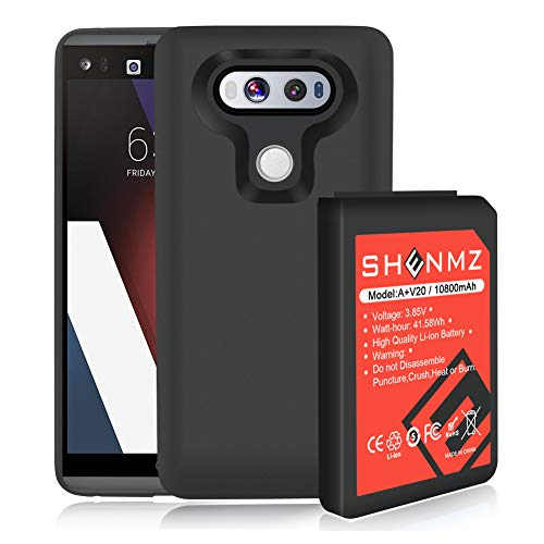 LG V20 Battery AexPower [10800mAh] Li-ion Replacement Battery for LG V20 BL-44E1F All Versions & Black Soft TPU Protective Case (More Than 3.3X Extra Battery Power) | LG V20 Extended Battery