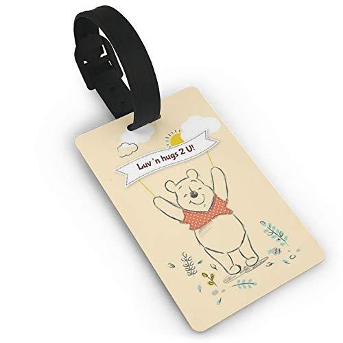 DNBCJJ Etiquetas de equipaje para maletas encantadora Winnie The Pooh etiqueta de equipaje, con nombre ID maleta para mujeres, hombres, niños, accesorios de viaje