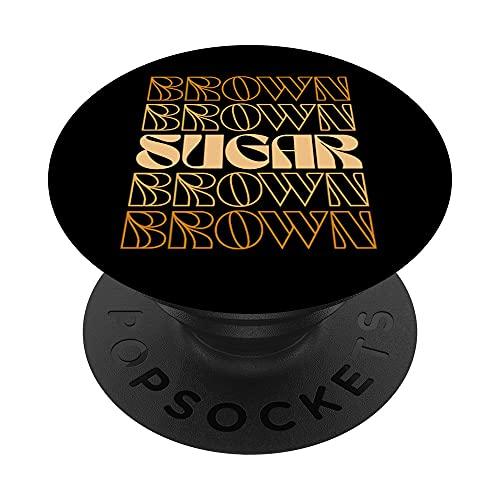 Retro Brown Sugar Babe 60s 70s 80s Melanin Pride Orgullo Negro PopSockets PopGrip Intercambiable