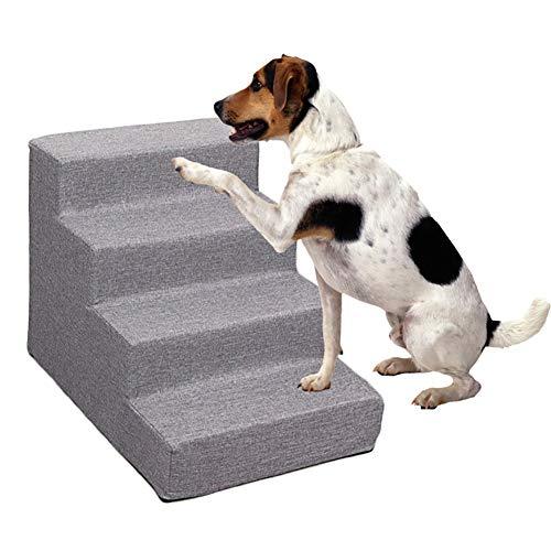 ZCJB Escaliers pour Chat Gris 4 Étapes Escaliers de Chien, Portable Échelle D'assistance pour Animaux de Compagnie pour Grand Mauvais/Canapé/Lit/Chaise/Voiture, 54×38×40cm
