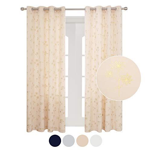 Deconovo Samt Vorhang Lichtdurchlässig Gardinen mit Muster Ösenvorhänge Fenster 290x140 cm Hellpink 2er Set