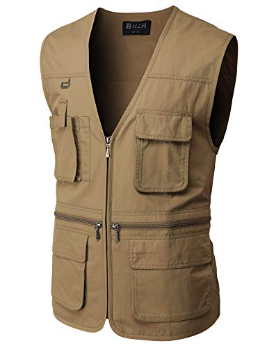 H2H Men's Fishing Vest Multi Pockets Plus Size Outdoor Climbing Causual Tactical Multi Use Vest Brown US M/Asia L (CMOV050)