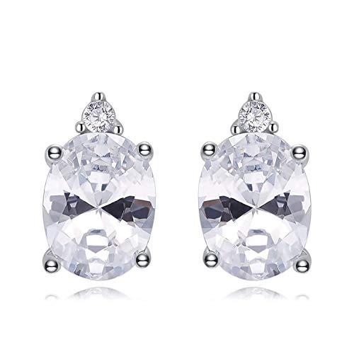 Gymqian Novedad Joyas- Mujeres Damas 925 Pendientes de Plata de Ley Oval Cubic Zirconia Stud Pendientes Blanco
