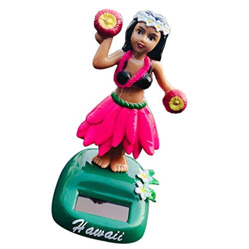 Blesiya Solar Dancing Hawaii Girl Lulu Partie Voiture Tableau DE Bord Jouet Ornement - B-Vert - B-Rose