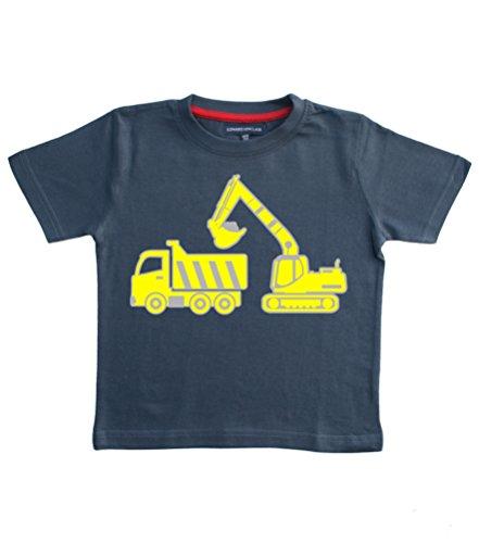 Excavadora triciclo y balón de camión con remolque de rayas de la marina-camiseta de manga corta tamaño de la funda de palo de golf para niños 5-6 años con goma plateada y amarillo diseño de impresión