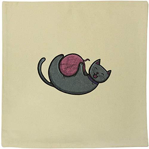 Azeeda 'Cat Playing With String' Canvas Cushion Cover (CV00018377)