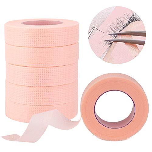 MWOOT 6 Rouleaux de Ruban Adhésif pour Cils, Patch Extension Cils,Tissu Micropore Bande Ruban de Cils pour Extension de Cils (Rose,9M)