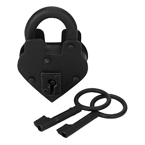 Sold as Each, Functional 3.5 Inch Size Vintage Padlock, Antique Padlock, Handmade Cast Iron, Decorative Padlock Comes with Two Keys. Natural Black Finish for Security and Antique Decoration