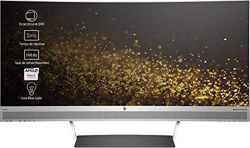 HP ENVY 34 Curved (34 Zoll WQHD IPS) Monitor (1x DisplayPort, 1x HDMI, 1x USB-C, 2x USB 3.0, 3440 x 1440, 60Hz, 6ms Reaktionszeit) schwarz/silber