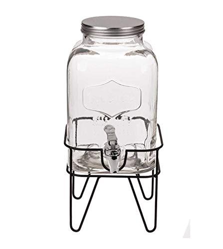 Idealtrend Einmachglas Getränkespender 4L Zapfhahn Wasser Saft Spender Glas Dispenser
