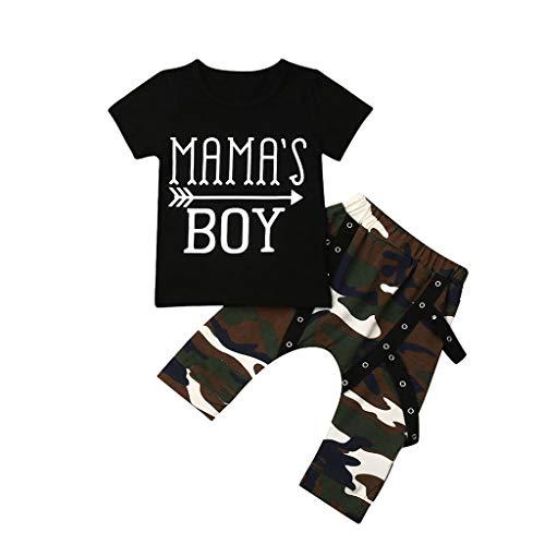 Cuteelf Babyanzug Kinder Kurzarm Brief drucken T-Shirt Top + Camouflage Hosenanzug Kleinkind Baby Kurzarm Brief drucken Tarnhose europäischen und amerikanischen Streetstyle