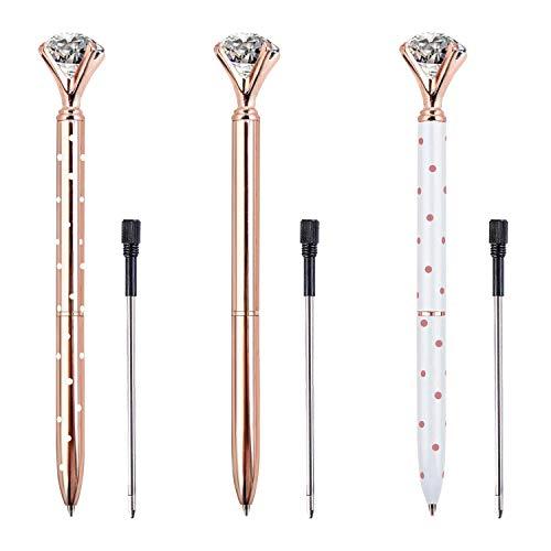 ZZTX 3PCS Big Crystal Diamond Ballpoint Pen Bling Metal Ballpoint Pen Office Supplies, Rose Gold/White With Rose Polka Dots/Rose Gold With White Polka Dots, Includes 3 Pen Refills Photo #5