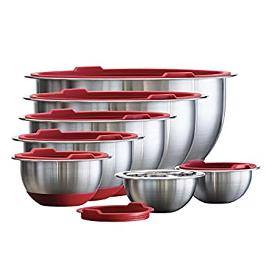 Tramontina 14-Piece Covered Stainless-Steel Mixing Bowl Set - Red