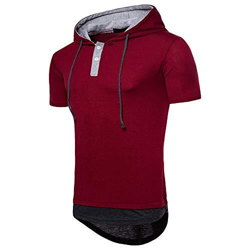 NOBRAND - Camiseta de manga corta con capucha, talla grande, para hombre 1 XXL