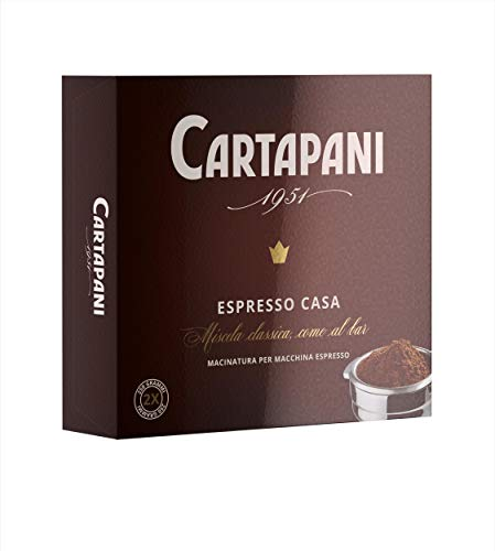 Cartapani Caffè, ESPRESSO CASA macinato, miscela di pregiati caffè Arabica e Robusta, con macinatura per macchine espresso-casa, confezione da 2x250g