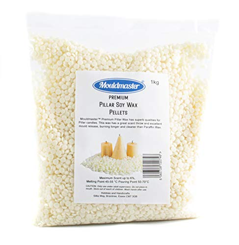 Mouldmaster Premium Pillar Soy Wax Pellets 1 KG, White/Cream, 1Kg
