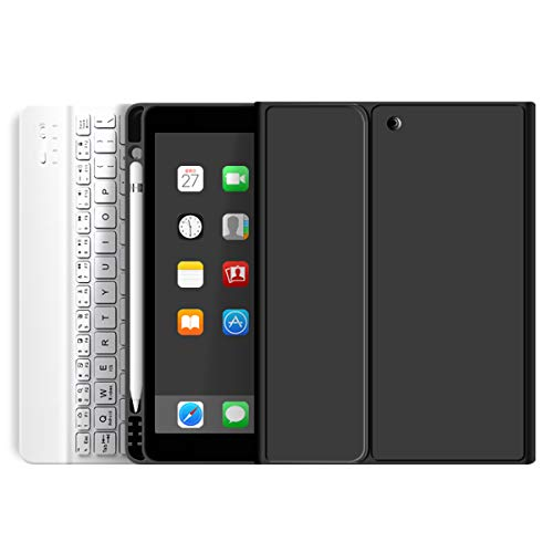 "ZOYU Keyboard Case for iPad 10.2 inch with Pencil Holder,Soft TPU Back Stand Cover with Magnetically Detachable Wireless Keyboard for iPad 8th Generation(2020)/7th Gen(2019) 10.2""-Black"