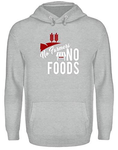 Generic No Farmers – No Food – Farmer Fair Trade – Diseño sencillo y gracioso – Sudadera unisex con capucha gris deportivo Heather S