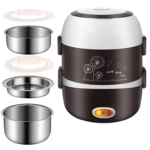 WJH9 Multi Function Lunch Box Pluggable Chauffage Isolation de Cuisson Chaud Rice Cooker Mini Petit Rice Cooker Hygiène Arts de la Table,Marron