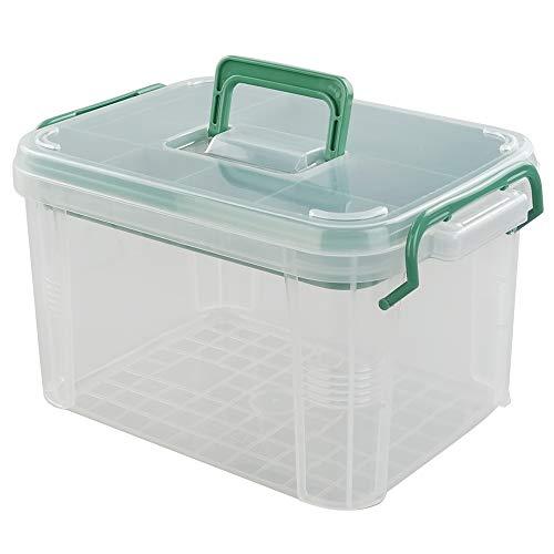 Cadine EHBO-doos voor Huishoudelijk Gebruik, Plastic Medicijn Bewaardoos, Doorzichtige Opbergdoos