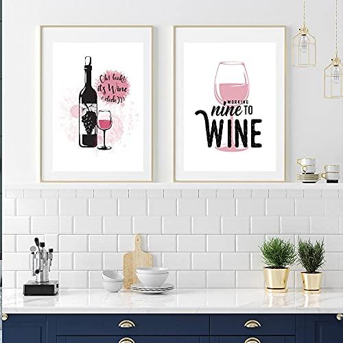 MKWDBBNM Cuadro en Lienzo de Vidrio, póster de Vino, Imagen de Arte de Pared de Cocina, decoración de Comida de Botella   30x45cmx2 sin Marco