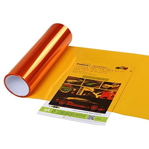 XUPHINX Etiqueta engomada de la luz del Coche, autoadhesiva Luz de Niebla del Coche Luz Trasera Luz antiniebla Tinte Adhesivo - Lámina de película de Vinilo Naranja 30x60cm