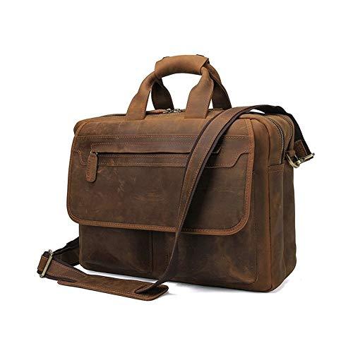 Boss Bag Crazy-horse Lederen Heren Handtas Retro Lederen Aktetas Dubbele Rits Messenger Bag (Kleur : Bruin, Maat : L)