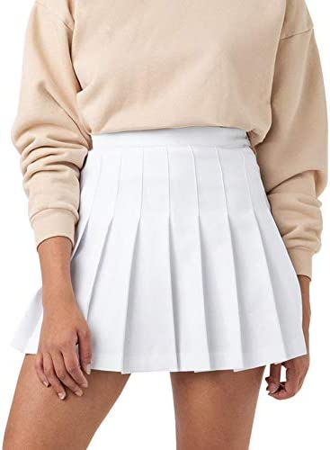 Women Girls High Waisted Pleated Skater Tennis School A Line Skirt Uniform Skirts with Lining product image