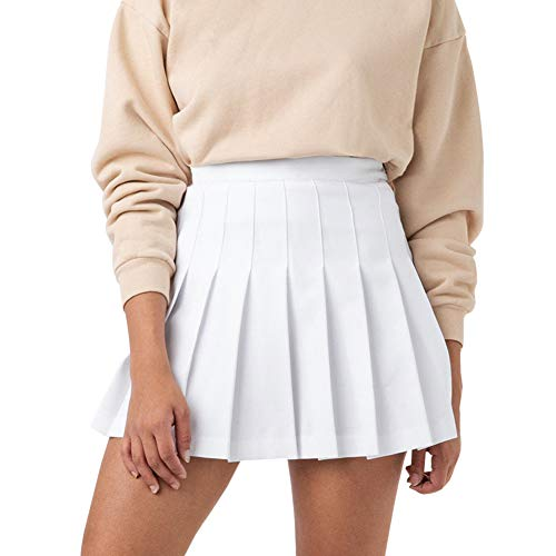 Women Girls High Waisted Pleated Skater Tennis School A-Line Skirt Uniform Skirts with Lining Shorts (A-White, Medium)