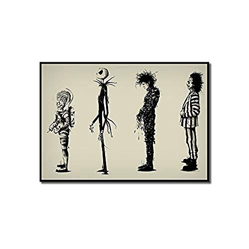 WJY Home Decr Malerei Tim Burton Film Beetlejuice Edward Scissorhands Filmplakat Hd Print Poster Wandkunst Bilder Decor 60x90 cm Kein Rahmen
