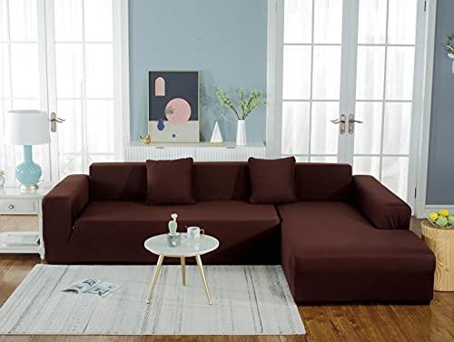 Funda Sofá Elástica 4 Plazas: 235-300 cm Funda para sofá Antideslizante Funda de Sofá Todo Incluido,Suave del Protector de Muebles,Lavable Sofá Cojín - Marron Oscuro