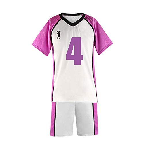 YZJYB Haikyuu Cosplay Hombres Disfraz Camiseta Shiratorizawa High School Voleibol Club Jersey Traje De Manga Corta Camisa Pantalones Uniforme Conjunto Completo,XX~Large