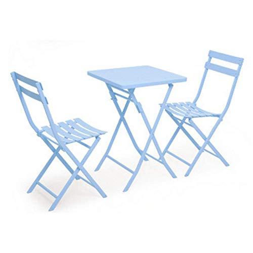 Attrezzatura soggiorno Sgabello divano Brisk Set pieghevole Tavolo 2 sedie Mobili da giardino per giardino Balcone Veranda Outdoor Bistro Cafe Scrivania in metallo nordico per amici in chat (Colore