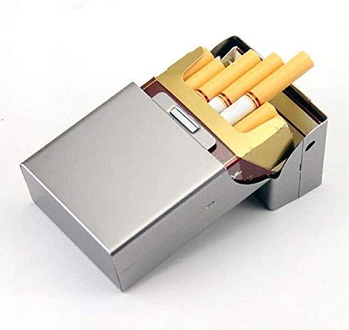 Caso de cigarrillos, caja de cigarrillos titular de la tapa del tirón del metal de cigarrillos caso del imán de succión es pequeña y portátil fácil de poner en el bolsillo Caja de cigarrillos para hom