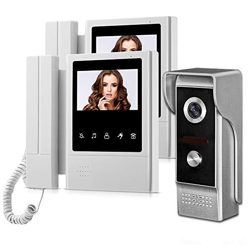 """HFeng 4.3"""" TFT Sistema de intercomunicación video Videoportero 2 Monitores + 700TVL IR Visión nocturna Cámara al aire libre Timbre de la puerta Soporte 100 metros"""