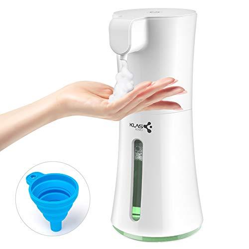 KLAS REMO Dispenser Sapone Automatico, 400ML Distributore di Sapone Schiumogeno Erogatore di Sapone con Sensore a Infrarossi per Bagno, Cucina, Ufficio, Ristorante - Bianco