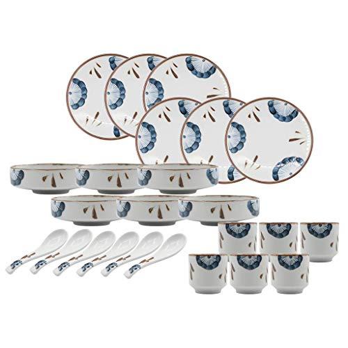 GAXQFEI Cerámicas de Vajilla, Retro 24 Piezas de Porcelana Vajilla para Restaurante Y Reunión de la Familia/Pintado a Mano de Placas Y Tazones Conjuntos