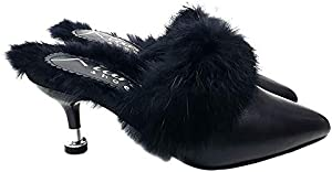 Kiara Shoes Black Sabot Comfortable with Fur - KC018 Nero