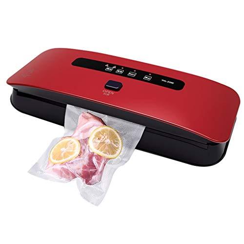 ZZQZZQ Vakuumierer- Vakuumiergerät Lebensmittel Vakuumiergerät Mini 150W Haushalt/Gewerbe Multifunktions-Dichtungs-Maschine mit 10 Frischen Taschen Red