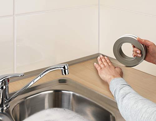 WENKO Ruban-joint étanche pour plan de travail taupe - Ruban d'étanchéité autoadhésif, imperméable à l'eau, Plastique, 2.8 x 0.2 x 400 cm, Taupe