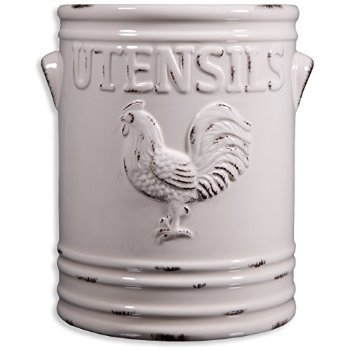 Home Essentials Rooster Utensil Crock, Ivory, 6.25L X 5.70W X 7.08H