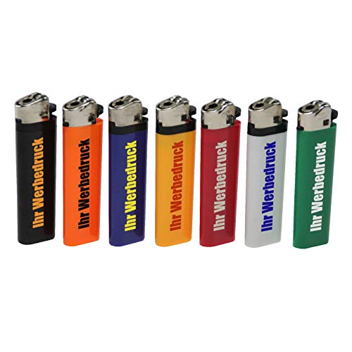 200 x beidseitig Bedruckt Feuerzeug Ecuador SCHWARZ mit Reibrad 1-farbig Werbung Druck Logo