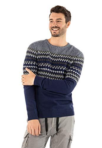 Urban Surface Herren Strick-Pullover mit Norweger-Muster Dark-Blue M