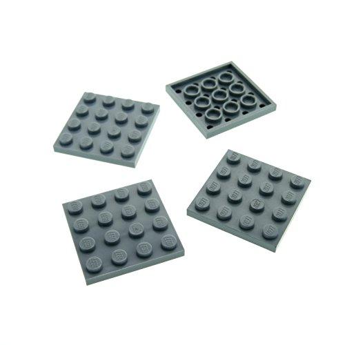 4 x Lego System Bau Platte 4x4 hell grau 4 x 4 Quadrat 5524 75054 21301 75913 7915 3031