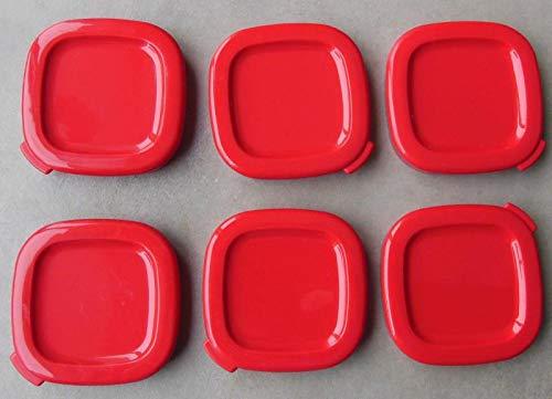 6 Deckel für Joghurtgläser, quadratisch, Rot, für Joghurtbereiter SEB 7 cm innen, 7,5 cm außen