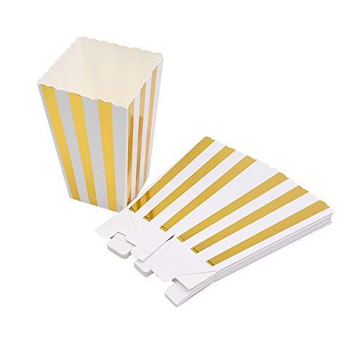 VAINECHAY 12PCS Cajas de palomitas Carton Maíz Caja Papel Pequeña Dulces Papas Fritas Fiesta Cumpleaños para Niños Caja Regalo Comida Bocadillos Titulares Contenedor Onda Dorada Oro Rayas