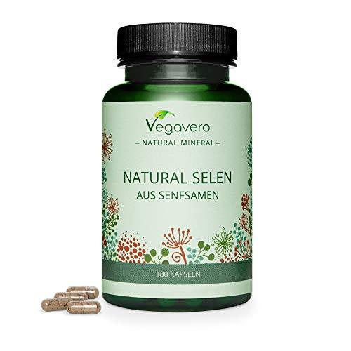 Selenio Natural Vegavero®   El Único Natural: Procedente de Semillas de Mostaza   Dosis Óptima: 100 mcg=181% CDR   Sin Aditivos Artificiales   Vegano   180 Cápsulas   Cabello + Tiroides*