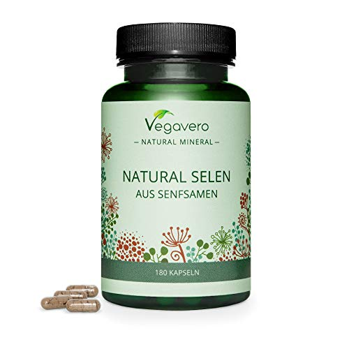 Natural Selenium Capsules Vegavero | 180 Capsules | 6-Month Supply | Not Synthetic | Plant Based - from Mustard Seeds | *Protects from oxidative Stress | No Artificial Additives | Vegan