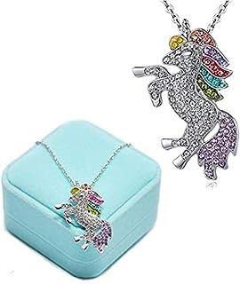 BETOY colgante de unicornio, Colgantes Mujer Plata Unicornio Niña Rhinestones Crystal Collares Joyas para Mujer Plata Rega...